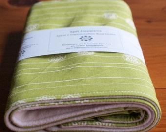 Burp Cloth Sale; Green Burping Pads; Organic Cotton Burp Cloths; Newborn Baby Shower Gift under 20; Gifts for Nursing Mom;STAMP STRIPE GRASS