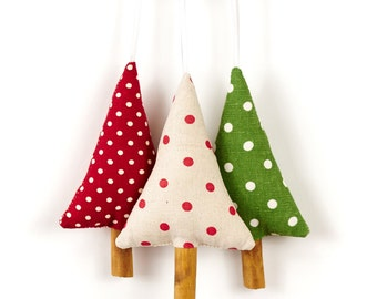 Set of Woodland Christmas Tree Ornaments Holiday Decor Rustic Polka Dot Linen Cinnamon Christmas Decorations Set of Three