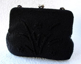 Vintage Black Beaded Purse Formal Handbag Rhinestone Kiss Clasp Jet Glass Bead Evening Bag Wedding Cocktail Party Prom 1940s 1950s