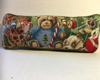 Counted cross stitch Christmas pillow.