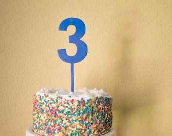 Number three Birthday Cake Topper -  wood number 3