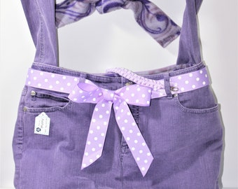 PET CARRIER Large Pet Sling Upcycled Jeans Purple