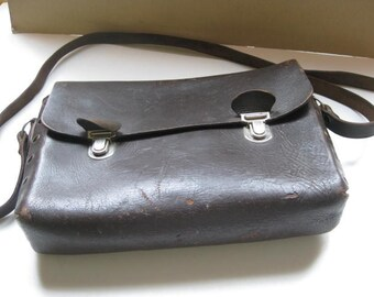 French railways SNCF shoulderbag in darkbrown leather.