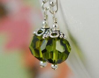 Olive Green Long Dangle Earrings | Moss Green Earrings | Sterling Silver | Swarovski Elements