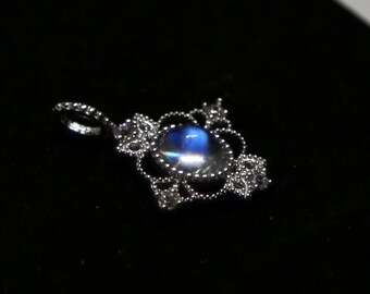 Vintage Victorian style Moonstone pendant 5x7mm, Fashion Jewelry, Christmas Gift, spring gift