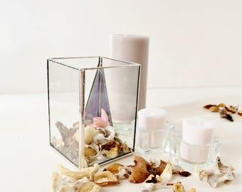 Square Hurricane Glass Candle Holder, Original Wedding Decor, Clear Glass Box,  Modern Glass Garden Party Decor