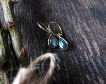 Labradorite Gold Hoops,Labradorite Earrings Gold,Gold Hoop Earrings,Gemstone Earrings,Hoop Earrings Gold,Gemstone Drop Hoop,Labradorite Gold