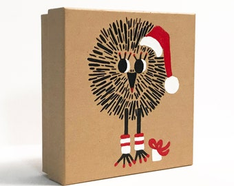 Handpainted Christmas Gift Box, Holiday Gift Box, Christmas Chick Jewelry Gift Box, Decorative Gift Box, Kraft Gift Box