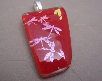 Large red dragonfly fused glass pendant  Pink and gold dragonflies flit across a large red glass pendant fused glass jewelry