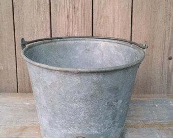 vintage feed bucket, galvanized metal pail, baby calf feeder