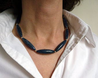 Sodalith necklace dark blue with silver balls and carabiner clasp