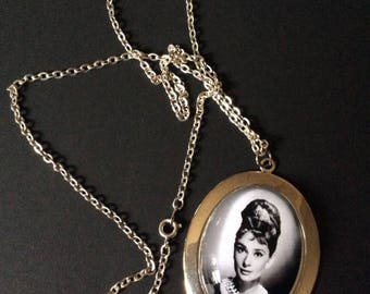 Vintage Photo Of Audrey Hepburn Pendant Chain Necklace Silver Tone COLOR Metal This Is A Newer Hand Made Necklace