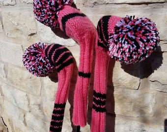 Retro Hand Knit Golf Club Head Covers Set of 3 Pink Black White with Pom Pom