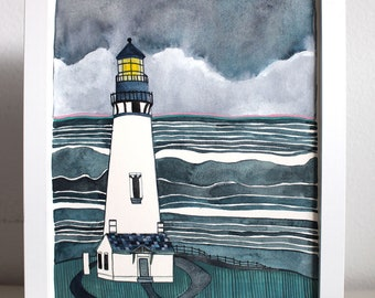 Yaquina Head Lighthouse, Oregon Coast Art, Lighthouse Painting - Newport Oregon Art - Ocean Art - Coastal Painting - Oregon Painting