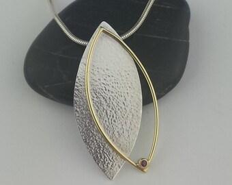 Leaf Pendant, 18k Gold Pendant, Ruby Pendant, Argentium Pendant, Gallery Line, Fine Jewelry, Mixed Metal, Hammered Texture