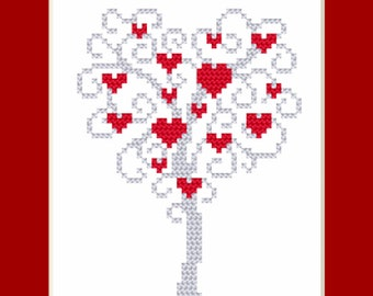 Postcard - Tree of hearts Stitch Pattern, Digital  Pdf ,Graphics Counted Cross Stitch pattern in PDF  format, Painting,  Easy