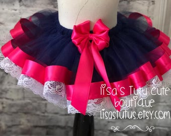 navy and pink tutu, blue and pink tutu, navy tutu, lace tutu, navy and fuschia tutu, navy birthday tutu, lace birthday tutu