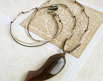 Jasper Leaping Fish Stone Pendant Long Leather Necklace 32in for Men Women,  Braided Brown Tan Leather Cord Necklace