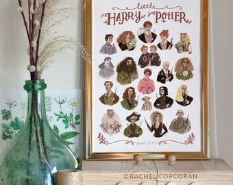 Harry Potter Print by Rachel Corcoran - Harry Potter Gift - Hermione Granger, Luna Lovegood, Dumbledore, Snape, Draco Malfoy, Kids Room Art