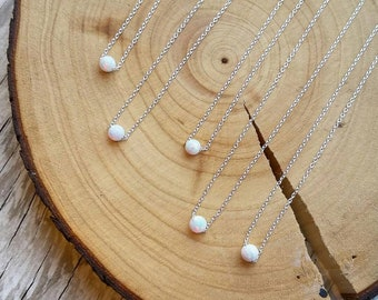 Teeny Tiny Opal Sterling Silver Necklace