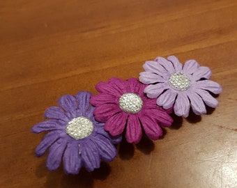 Embellished pink and purple flowers on clip