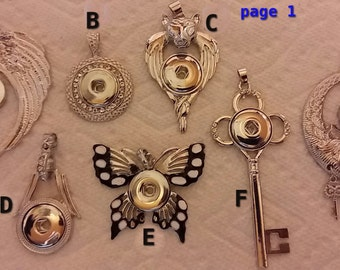 Free with purchase support clip / snap interchangeable 18 mm pendants/numbered choose page + details below