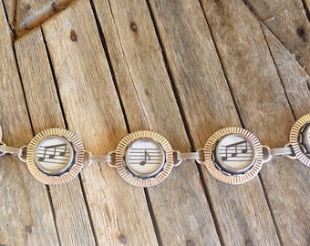Typewriter Key Bracelet Jewelry , MUSIC NOTES,  Retro, Recycyled, Reclaimed, Vintage - Custom Orders Welcome