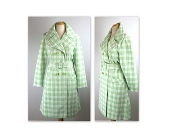 Vintage 70s Mod Plaid Coat S M Green and White by Niccolini with wide collar