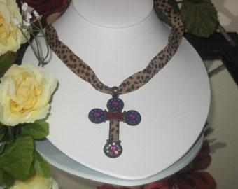 Leopard Choker Necklace, Ribbon, Fashionable, Adorned With Rhinestones, Cross Pendant, Leopard Chain