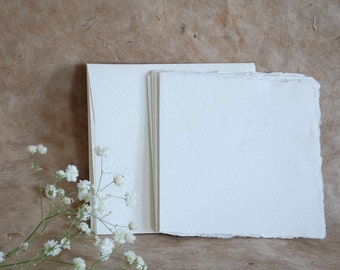 5 blank cards & envelopes 15cm/6 inch square Khadi White Cotton Rag 210gsm Indian handmade paper, deckle edges