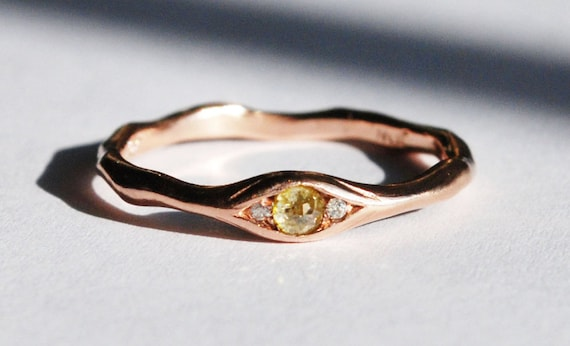 Rose Gold, Yellow Rose Cut Diamond & White Diamond Eye Ring