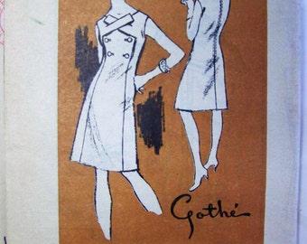 RARE Vintage 1960s Prominent Designer M375 GOTHE Dress Mail Order pattern sz 16 bust 36 UNUSED