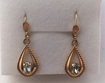 Superb Art Deco Gold Plated French Dormeuse Aquamarine Glass Leverback Earrings.
