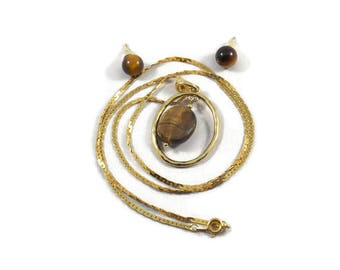 Tigers Eye Gold Tone Necklace & Earrings, Tigers Eye Jewelry Set, Tigers Eye Necklace, Tigers Eye Earrings, Pendant Necklace