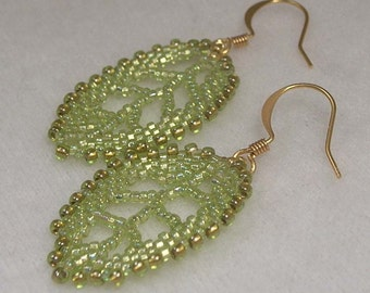Beadwoven Light Green Leaf  Earrings