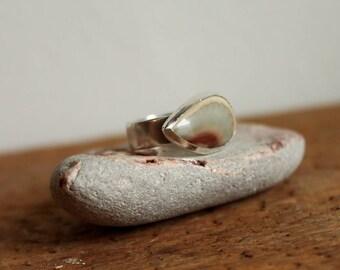 Agate Teardrop Sterling Silver Ring 7 3/4.