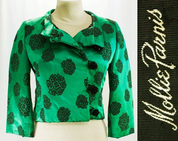 by 47227 amp; Floral Dress Emerald Set Green Sublime 60s 1950s Black Silk Size Cocktail Quality Formal Mollie 10 Jacket Satin Parnis FnwRYx