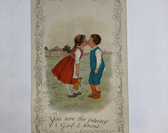 Vintage Valentine 1900's You are the Sweetest Girl I know  Postcard Girl and Boy Kissing  Ephemera