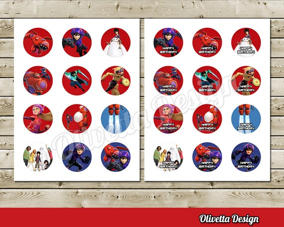 Big Hero 6 2 inchs Birthday Party Circles Cupcake Toppers