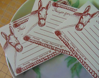 SALE, Horse Recipe Cards, Horse Cards, Handmade, Cowgirl Recipe Cards, Cowboy Recipe Cards, Horse Drawing, Western Theme Cards, Horse Art