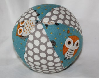 New!  Small Light Blue Owls Boutique Ball Rattle Toy