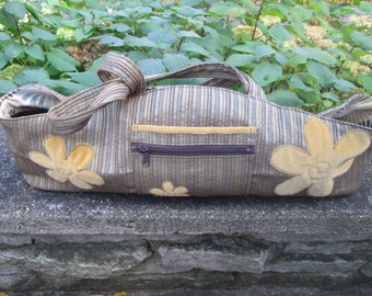 Three Blossoms Striped Yoga Bag Tote
