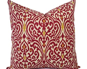 Two Ikat Pillow Covers - Red and Gold Ikat Throw Pillows - Red Pillow Cushion Cover - Maroon Pillows - Pillow Cover 18 x 18 - Euro Sham