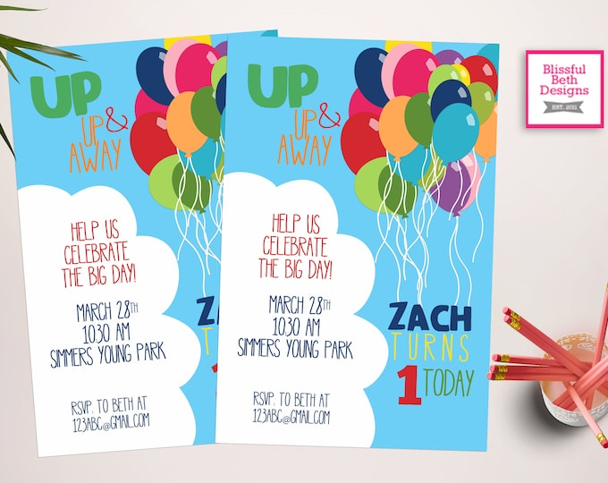 BALLOON BIRTHDAY PARTY Balloon Birthday Invitation, Printable Balloon Birthday Invitation, Up Inspired Birthday Invitation, Balloon Invite