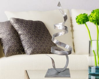 Abstract Desk Decor, Silver Contemporary Centerpiece, Modern Metal Art, Garden Decor, Small Table Sculpture - Whisper Accent by Jon Allen