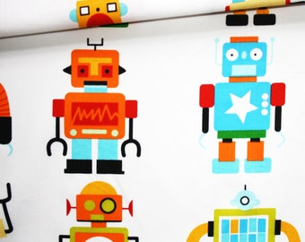 Robots, 100% cotton fabric printed 50 x 160 cm, big robots colored on white background