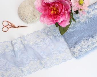 "1 m (1.09 yd) of Stretch lace - Pale Blue - 16.5 cm (6 1/2"") Wide"