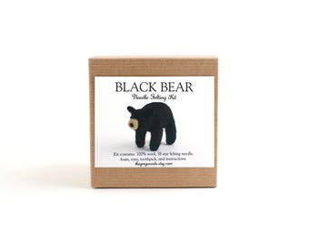 DIY Kit - Black Bear Needle Felting Kit - Needle Felted Animal Kit