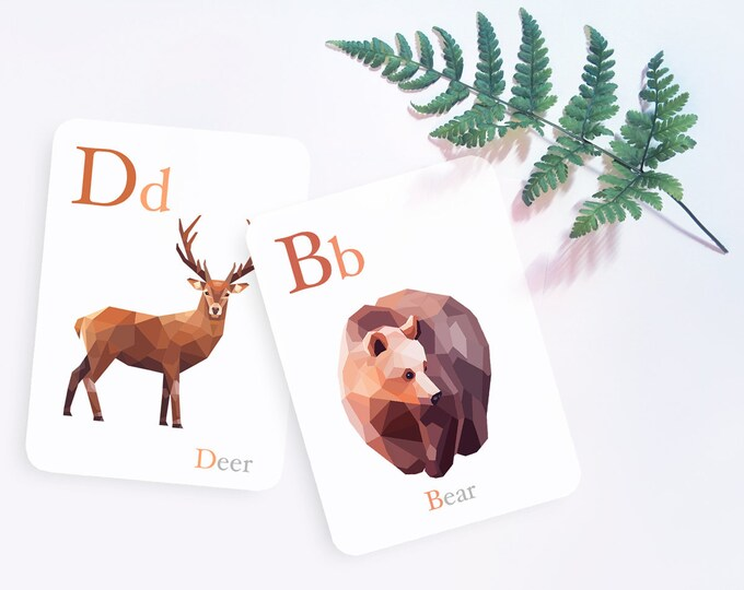 Alphabet print set, ABC flash cards, Alphabet art, Animal alphabet, Nursery ABC art, Baby nursery alphabet, Geometric art, Baby flashcards