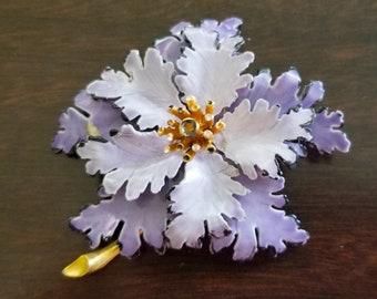 Vintage Large Light & Dark Purple Frilly Petal Enamel Flower Brooch Pin with springy gold center - RARE